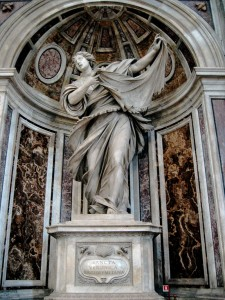 Statue of Saint Veronica by Francesco Mochi in a niche of the pier supporting the main dome of Saint Peter's Basilica.