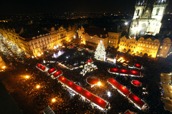 Old Town Square Christmas Tree Lighting Ceremony in Prague