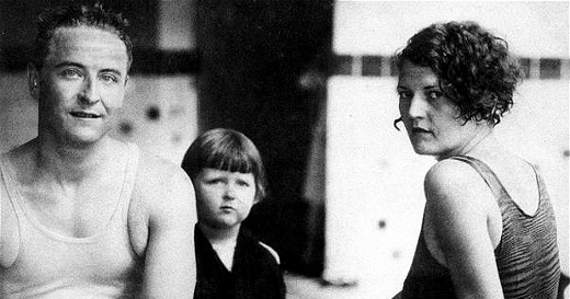"F. Scott Fitzgerald with his daughter, ""Scottie"" and wife, Zelda (image sourced from Letters of Note)"