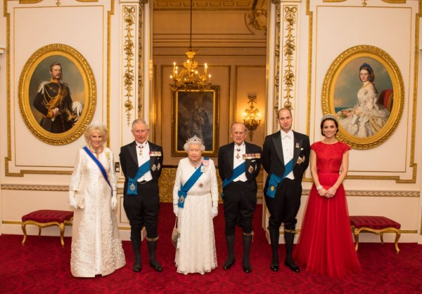 LONDON, UNITED KINGDOM - DECEMBER 8:  (L-R) Camilla, Duchess of Cornwall, Prince Charles, Prince of Wales, Queen Elizabeth II, Prince Philip, Duke of Edinburgh, Prince William, Duke of Cambridge and Catherine, Duchess of Cambridge arrive for the annual evening reception for members of the Diplomatic Corps at Buckingham Palace on December 8, 2016 in London, England. (Photo by Dominic Lipinski-WPA Pool/Getty Images)